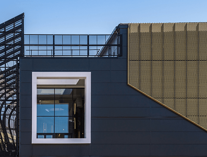 Close up of a window and cladding panels at Elwick Place