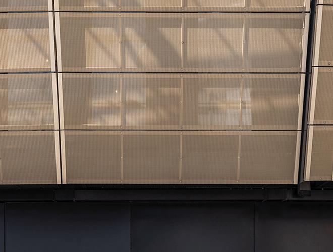 Yellow facade cladding across the exterior of Elwick Place
