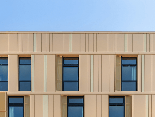 Modern cladding panels at Elwick Place