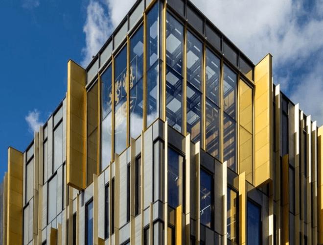 The top corner of the University of Birmingham Library building